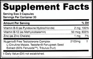 nugenix supplement packaging label