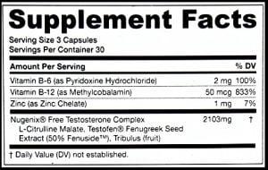 nugenix supplement packaging label