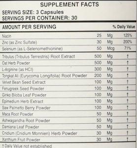 Virectin list of ingredients