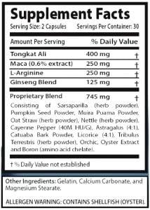 Biomanix supplement facts