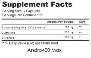 andro 400 supplement facts
