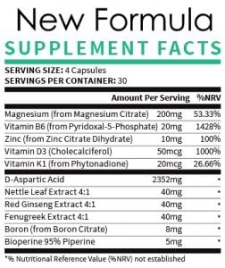Supplement facts new formula