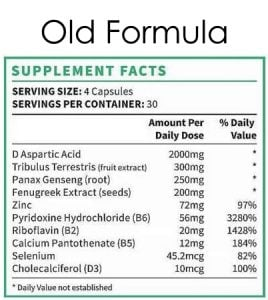 Supplement facts old formula